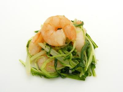 海老、水菜、にんにくのゆずこしょう炒め.JPG