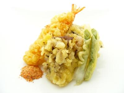 天ぷらをゆず塩七味で.JPG